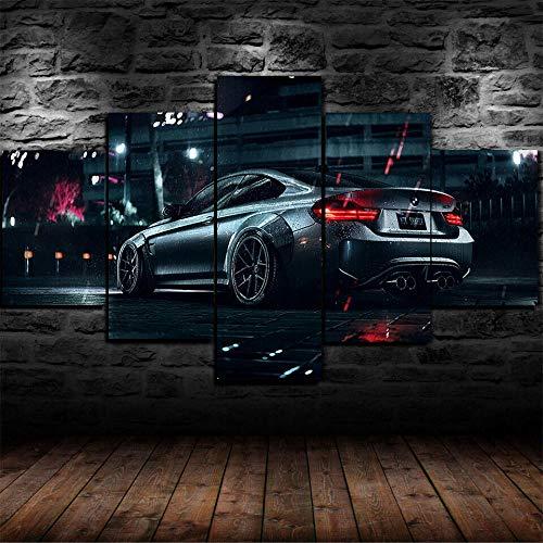 IKDBMUE Leinwandbild für Heimdekoration, Schwarz-Weiß BMW M4 Supersportwagen 5-teilig, modernes Giclée-Gerahmtes Kunstwerk, die Bilder für Wohnzimmer-Dekoration, Fotodrucke auf Leinwand