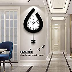 GQYS Modern Decorative Pendulum Wall Clock, Stylish Quartz with Pendulum Wall Clock Silent Large Fashion Clocks for Home Living Room Office Bedrooms Kitchen Pendulum Wall Clock,18x31inch