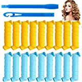 BeVarious Curls Styling Kit, 18 No Heat Hair Curlers and 1 Styling HooksMagic Hair Curlers Spiral Curls Styling Kit Easily Create Beautiful Curly Hair Suitabl, for Long Hair Up to 10' (25 cm)
