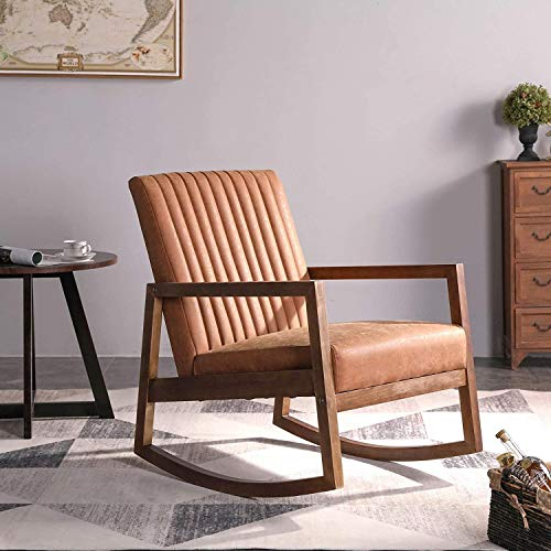 Wahson PU Leather Rocking Chair Mid-Century Armchair with Solid Wood Legs, Leisure Relax Chair for Living Room/Bedroom/Balcony (Brown)