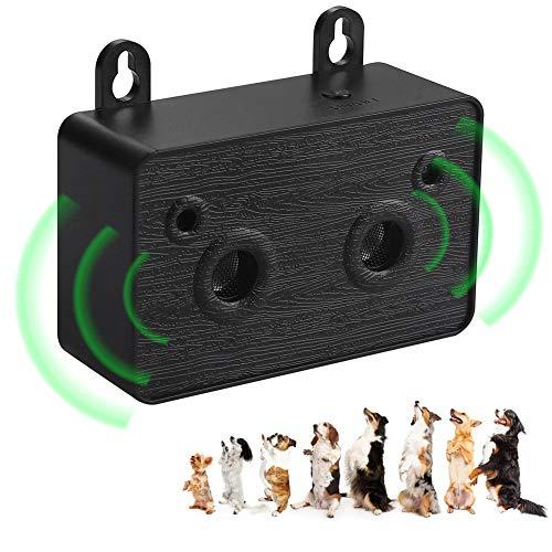 HXWEB Ultrasuoni Dispositivo Antiabbaio per Cani Sicuro e innocuo Dispositivo Anti abbaio Automatico & Manuale per Fermare l'abbaiare Indesiderato da addestramento (Nero)
