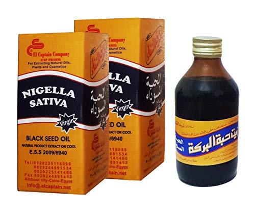El Captain Egyptian Virgin Black Seed Oil Cold Pressed, 2 Glass Bottles, Total 16.9oz (8.45oz, 250ml Each Bottle)