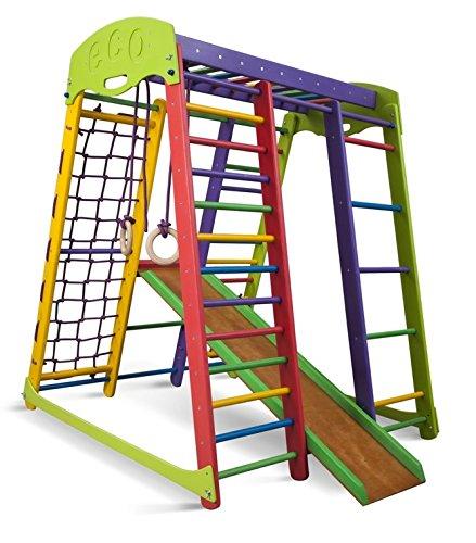 SportBaby Centro de Actividades con tobogán ˝Akvarelka˝, Red de Escalada, Anillos, Escalera Sueco, Campo de Juego Infantil, Juguetes