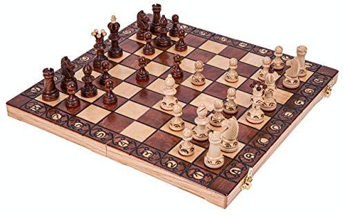 Square - Schach Schachspiel - AMBASADOR Mini - 35 x 35 cm - Schachfiguren & Schachbrett aus Holz