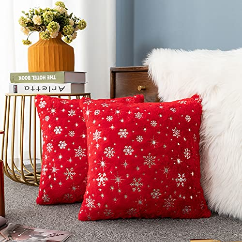 LIGICKY Set of 2 Fluffy Red Faux Fur Pillow Covers with Silver Snowflake Glitter Printed Throw Pillows Decorative Soft Furry Sparkling Square Cushion Cases for Sofa Bedroom Party Décor, 18 x 18 inch