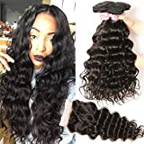 Beauty Forever Hair Brazilian Natural Wave Virgin Hair Weave 3 Bundles with 1 Piece Lace Closure 100% Unprocessed Human Hair Extensions Natural Color 95-100g/pc (10 12 14+10 free part)