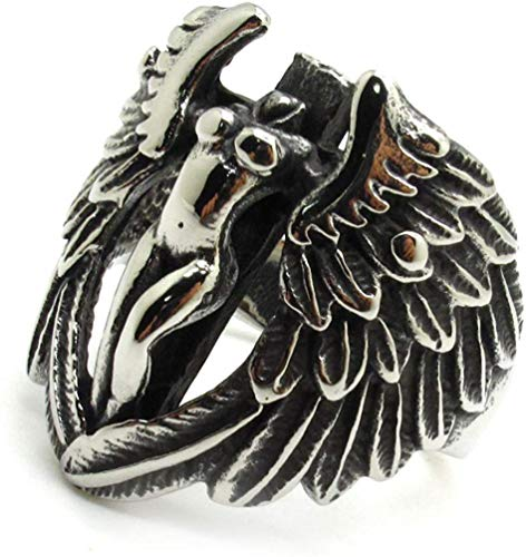 NA Jewelry Men's Stainless Steel Ring Black Silver Angel Wing Feather Girls Naked
