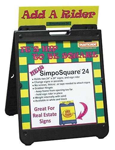 """The """"Simpo Square 24"""" Portable Sign Stand in BLACK -  Plasticade, SD-Simpo SQ 24 : SD-Simpo SQ 24-BK"""