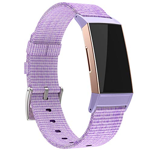 adepoy Compatible with Fitbit Charge 3 Bands/Fitbit Charge 4 Bands for Women Men, Soft Breathable Woven Fabric Replacement Wristbands for Fitbit Charge 3 Special Edition, Lavender