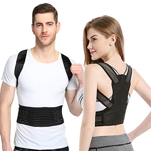 Sixport Posture Corrector for Women & Men, Kyphosis Brace, Adjustable & Comfortable Scoliosis Back Humpback Correction Belt for Students & Children & Adult (Waistline:34-38