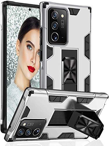 Funda para Samsung Galaxy Note20 Funda TPU 360 Degree Full Body Protective Shock Absorbing Scratch Resistant Mobile Case con función soporte Galaxy Note20 Ultra Case (Note20 Ultra, Plata)