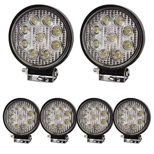 BRIGHTUM 27W LED Arbeitsscheinwerfer weiß Runde 12V 24V 2140LM Reflektor work light Scheinwerfer Arbeitslicht Offroad SUV UTV ATV Arbeitslampe - Traktor - Bagger (6 Stück)
