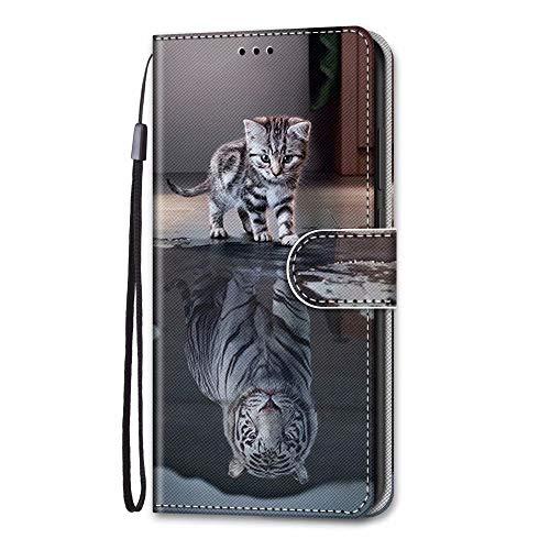 Funda para iPhone 12 de 6,7 pulgadas, 3D de absorción de golpes Flip PU Funda de cuero cartera para portátil Folio Magnético Funda protectora TPU Bumper para iPhone 12 6,7 pulgadas con soporte para tarjetas ranuras Katzentiger