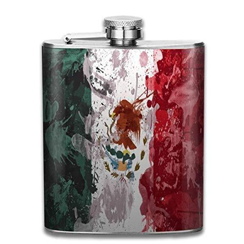 Flachmann mit abstrakter Malerei mexikanische Flagge für Likör, langlebiger Edelstahl-Flachmann mit U-förmigem Körper, 200 ml, rostfrei, auslaufsicher, für Reisen, Angeln, Picknick