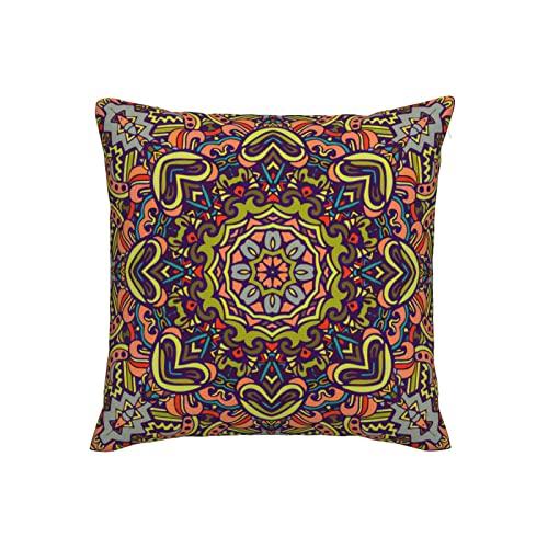 Boho Mandala - Fundas de almohada decorativas de lino de imitación de 20 x 20 pulgadas, fundas de cojín cuadradas para el hogar, sofá, dormitorio, sala de estar