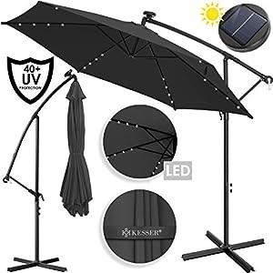 KESSER® Alu Ampelschirm LED Solar Ø300cm-350cm + Abdeckung mit Kurbelvorrichtung UV-Schutz Aluminium mit An-/Ausschalter…