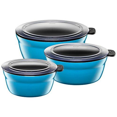 Silit Fresh Bowls Vorratsdose Set 3-teilig, Silargan Funktionskeramik, Multifunktions-Schale, luftdichter Aroma-Deckel, spülmaschinengeeignet, blau