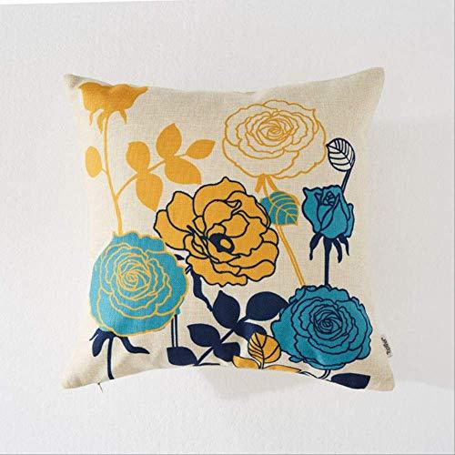 JOEYFAYE Floral Bird Print Cushion Cover Sofa Decoration Pillow Case Linen Cotton Hug Pillow Case Home Decoration 30cmx50cm C