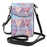Lsjuee Flores étnicas Triángulo Partten Crossbody Monedero para teléfono Pequeño Mini bolso de hombro Bolsa para teléfono celular Cartera de cuero para mujeres y niñas
