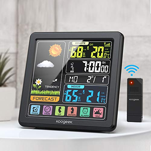 Koogeek Wetterstation Funk mit Außensensor, Digital Thermometer Hygrometer Innen und Außen Raumthermometer Hydrometer Feuchtigkeit mit Wettervorhersage, Uhrzeitanzeige und Nachtlicht-Schwarz