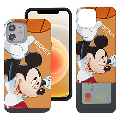 WiLLBee Compatible with iPhone 12 Mini Case (5.4inch) Dual Layer Card Slide Slot Wallet Bumper Cover - Basket Ball Mickey Mouse