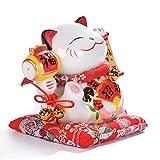 ZSMLB Adornos de Estatua Linda Estatua Japonesa de Gato de la Suerte de cerámica Maneki Neko Hucha para decoración de...