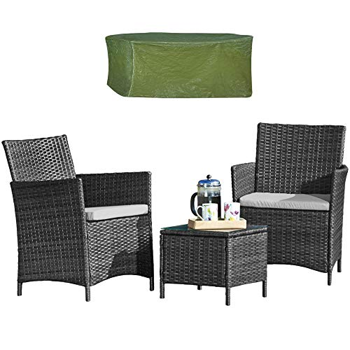 Thompson & Morgan Garden Bistro Set with Cover Rattan Furniture Outdoor Table & Chairs with Machine Washable Cushions (Grey)