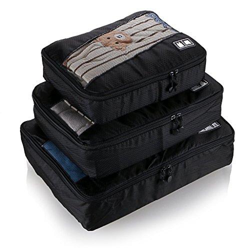 BlueBeach® Set di 3 Organizzatori di viaggio imballaggio cubi di lavanderia sacchetto dei bagagli Compressione Sacchetti Bag in sacchetto dell'organizzatore per i vestiti