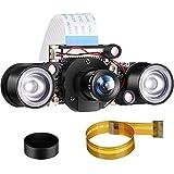 Cámara Visión Diurna y Nocturna Compatible con Raspberry Pi, Camara de Video IR-Cut 1080p HD Sensor Webcam 5MP OV5647 Compatible con Raspberry Pi RPi 4 3 B B+ 2B 3A+ 2 1, Enfoque Ajustable