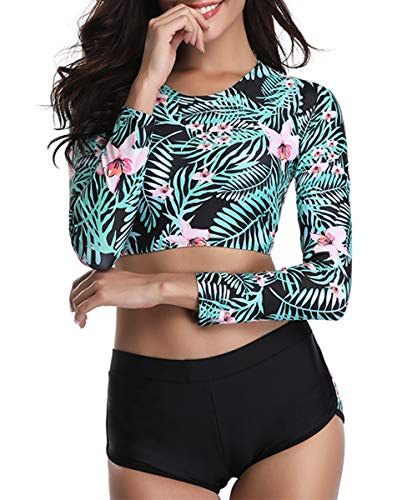 Century Star Women's Two Piece Swimsuit Long Sleeve Lace Up Back Swimwear Crop Top Tankini Bathing Suit Floral Print (Leaf) Small (fits like US 2-4)