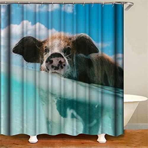 Haus Dekoration. Blauer Himmel Und Weiße Wolken. Süßes Schwein. Duschvorhang: 180X180 cm. 12 C-Förmige Haken. 3D Hd Druck. Wasserdicht. Nicht Verblassen.