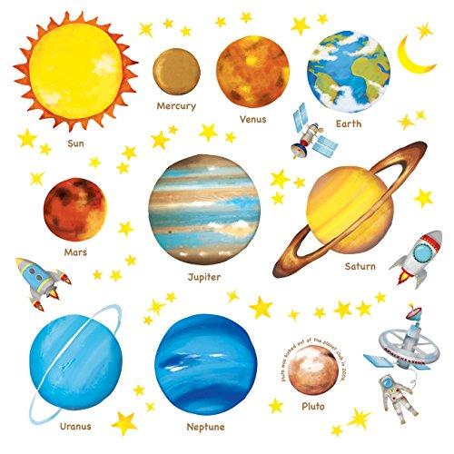 DECOWALL DAT-1307L Planetas en el Espacio (Grandede) (English Ver.) Vinilo Pegatinas Decorativas Adhesiva Pared Dormitorio Saln Guardera Habitaci Infantiles Nios Bebs