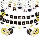 JeVenis Set de 25 Estamos tan orgullosos de ti Globo Graduación Banner Felicitaciones Banner Graduación Decoraciones para fiestas Graduación