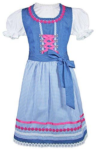 Isar-Trachten Isar-Trachten Kinder Dirndl Luana - Blau Rosa Gr. 98