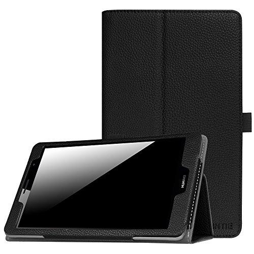 Fintie Folio Funda para Huawei Mediapad T3 8.0 - Slim Fit Carcasa con Función de Soporte y Banda Elástica para Stylus para Huawei Mediapad T3 8 Tablet 8 Pulgadas IPS HD, Negro