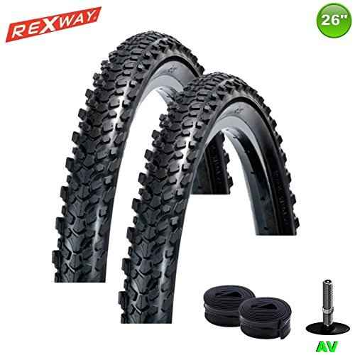 2 x MTB Fahrradreifen Rexway® Rough Rider 26 x 2,125-54-559 + 2 Schwalbe Schläuche AV13