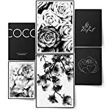 BLCKART Infinity Premium Poster Set Coco Floral Elegante immagine double face per camera da letto   2 X A3   4 X A4 (Coco FLORAL Black & White   6 pezzi senza cornice)