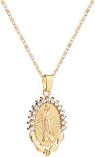 AOASK Women Crystal Rhinestone Virgin Mary Pendant Necklace Gold Retro Accessories Party Gifts