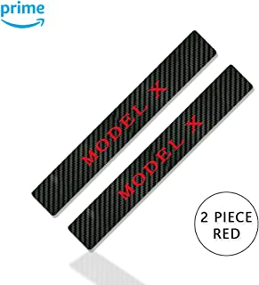 CoolKo Car Falcon Eagle Wing Door Decoration Stickers Carbon Fiber Protection Compatible with Model X - 2 Piece [Red]