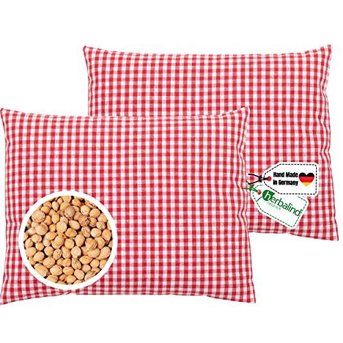 SET Herbalind Kirschkernkissen Oktoberfest Körnerkissen - 100{51ecafc346283ebffa20894290e8d9f2aca9521966dd9dcbf0b0a76533ef4817} Baumwolle 20x25 cm Hand Made Germany - Kariertes Design Wärmekissen für Kater, Mikrowelle Wärme- oder Kälte Kissen, rot (2er)