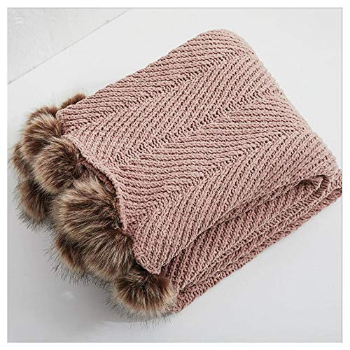 FUFU Mantas y mantitas Pom Pom WETH MANTES, 100% algodón Knit Hecho a Mano suéter Decorativo Pom Pom Manta para sofá Cama Sofá Oficina Super Soft Cable Manta de Punto para Todas Las Estaciones