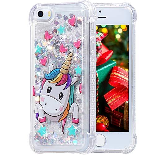 iPhone 5 5s SE Case, Flocute iPhone 5s Glitter Case Unicorn Pattern Bling Sparkle Floating Liquid Soft TPU Cushion Luxury Fashion Girly Women Cute Festival Holiday Case for iPhone 5 5s SE (Unicorn)