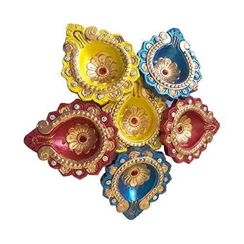 G & D Set von 6 handgefertigten, traditionellen Ton-Diya-Sets Diwali Deepawali Erdende Öllampe mit Baumwolldochten, kann mit Öl, Ghee oder Teelicht verwendet werden