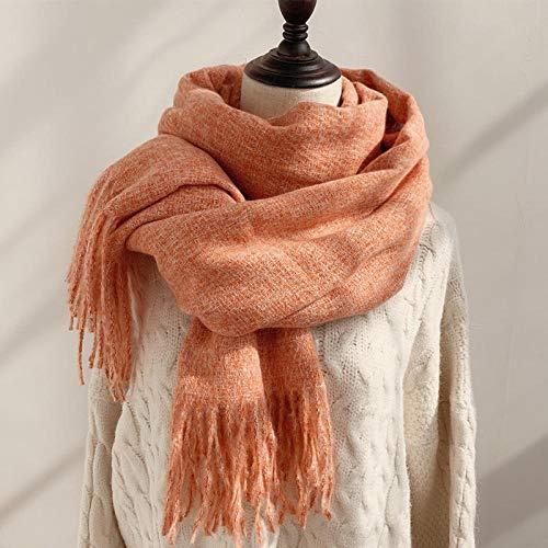 ZAMi Wollschal einfarbig wild weiblich Herbst und Winter dick warm Student Dual-Use-Schal-Vibrant Orange