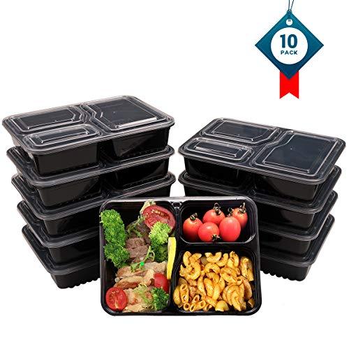OITUGG 3 Scomparti Contenitori Alimentari con Coperchio, Impilabile, Lavabile in Lavastoviglie e Microonde, Set di Scatole da Pranzo-10 Pack,by