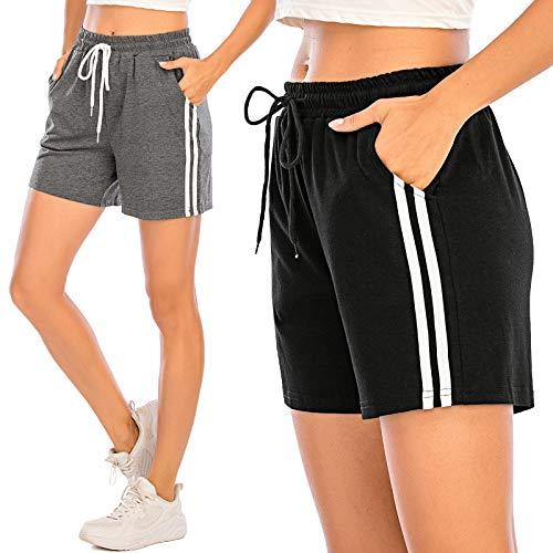 Pantalones Cortos Deportivos para Mujer Entrenamiento Yoga Verano para Hacer Ejercicio Trotar Gimnasio Pijamas Interior Casual Suelto Elástico con Banda Gris S
