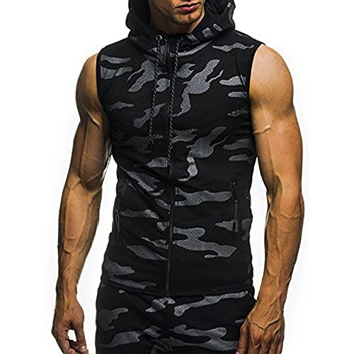Mens Camouflage Sleeveless Hooded Vest Vest Mens Sleeveless Vest Camouflage Zipper Hooded Tops Fashion Casual Vest Slim Fit