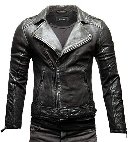Crone Fynn - Chaqueta de piel para hombre, estilo motero, básica, de piel auténtica, con cinturón y cuello de solapa