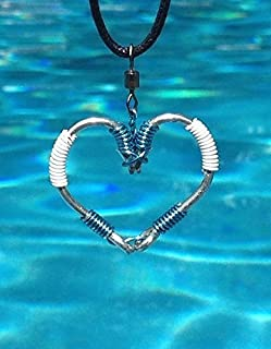 The ORIGINAL FISH HOOK HEART Necklace - Light Blue and White Wire on Silver Hooks