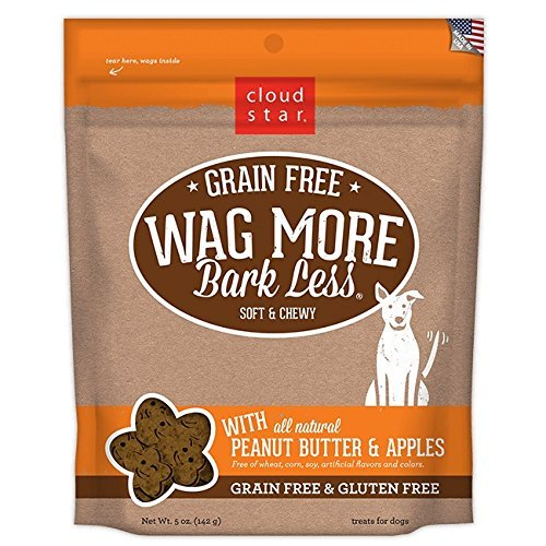 Cloud Star Wag More Bark Less Soft Chewy Grain Free Peanut Butter & Apples, 5 oz by Cloud Star